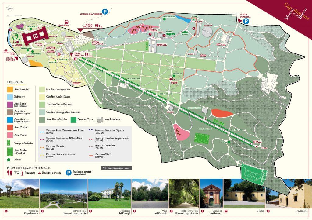 Mapa del museo y jardines de capodimonte.