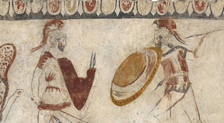 Affresco nel museo di Paestum