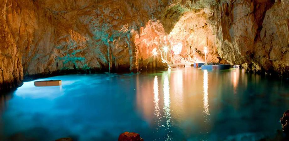 The interior of the Emerald Grotto in Amalfi