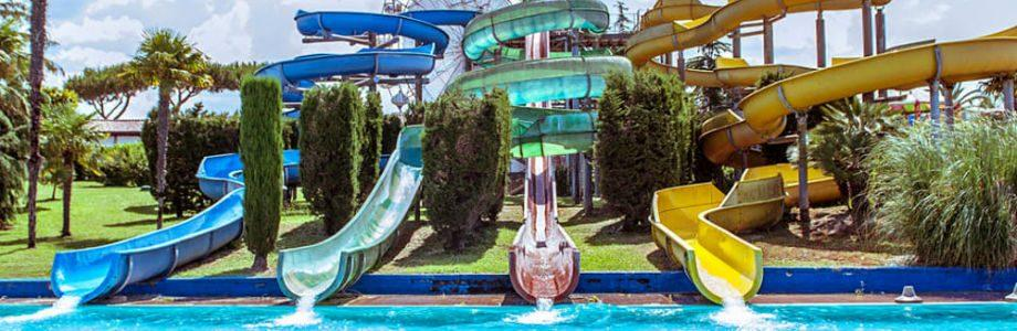 Slides of Pareo Park in Naples with games and baby animation