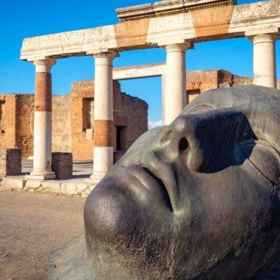 bronze statue in ancient Pompeii