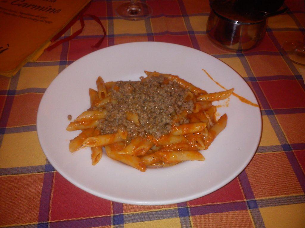 Penne alla Carmine, ricetta e piatto dell'antica trattoria da Carmine a via tribunali