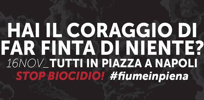 manifestazione stop biocidio a Napoli a novembre 2013