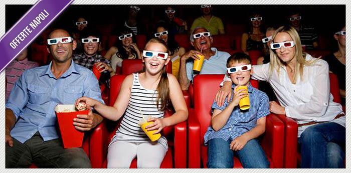 locandina rubrica offerte e coupon con cinema 3D e popcorn
