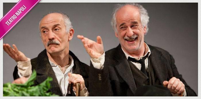 Toni Servillo e Peppe Servillo nello spettacolo Le voci di dentro al Teatro Stabile di Napoli