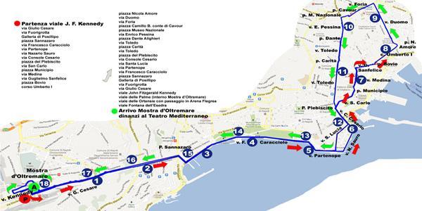 il percorso cittadino della Mostra d'Oltremare Half Marathon