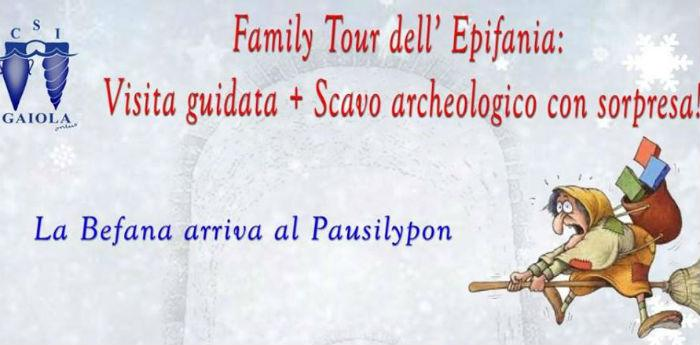 Locandina del Family Tout al parco archeologico del Pausilypon a Napoli