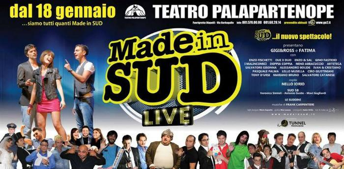 Locandina del nuovo spettacolo di Made in Sud al Teatro Palapartenope di Napoli