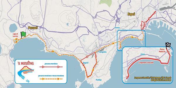 il percorso della maratona internazionale di napoli del febbraio 2014