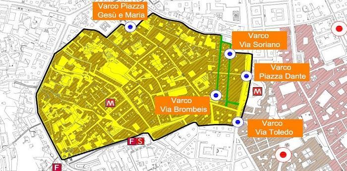 Mappa dell'area chiusa al traffico della nuova Ztl Tarsia-Pignasecca-Dante