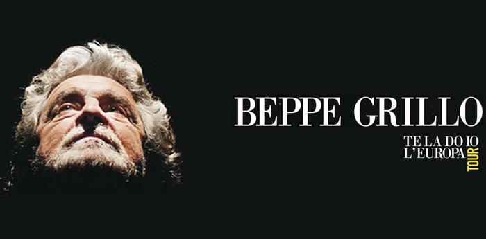 locandina dello spettacolo di Beppe Grillo Te la do io l'Europa