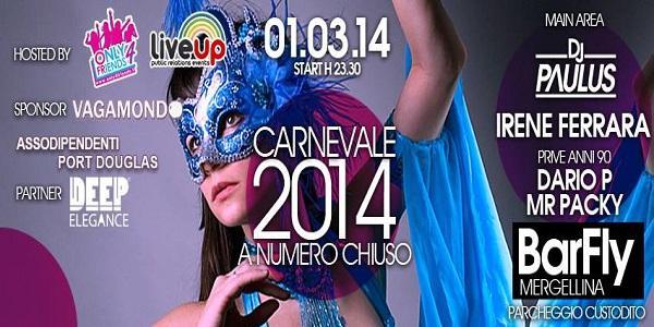 Locandina della festa di Carnevale al locale Barfly di Napoli