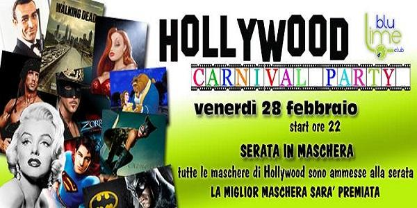 Locandina dell'Hollywood Carnival Party al Blulime di Napoli