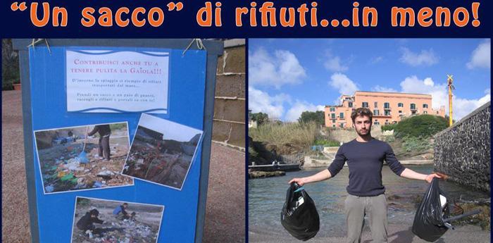 locandina iniziativa Un sacco di rifiuti in meno alla Gaiola di Napoli
