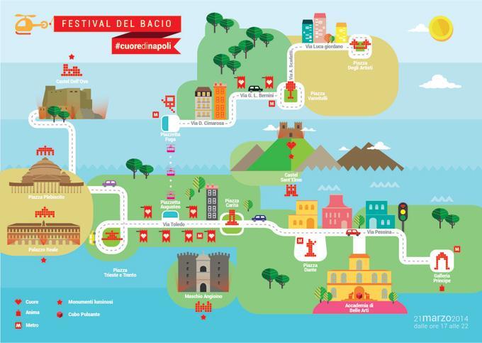 Mappa del percorso #cuoredinapoli per il Festival del Bacio
