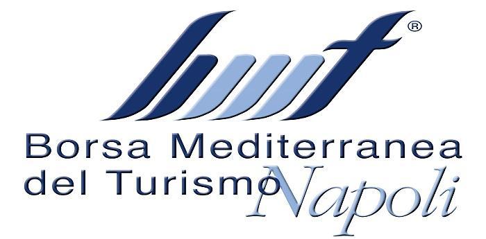 Locandina della Borsa Mediterranea del Turismo che si tiene alla Mostra d'Oltremare di Napoli