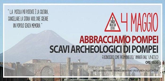 Locandina del flashmob Abbracciamo Pompei, per salvare gli Scavi archeologici