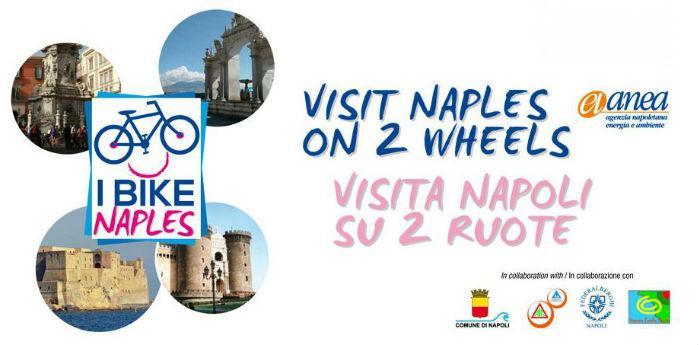 Locandina dell'iniziativa I Bike Naples, tour in bicicletta per la città di Napoli
