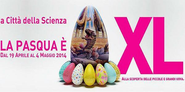 Extra großes Osterplakat in der Città della Scienza in Neapel
