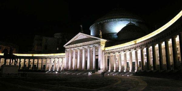 Piazza del Plebiscito in Naples at night, 50 years of Nutella in Naples