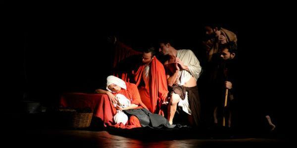 Szene der Show auf den Tableaux Vivants von Caravaggio