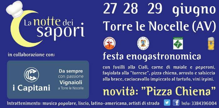 Locandina della kermesse gastronomica La Notte dei Sapori a Torre le Nocelle