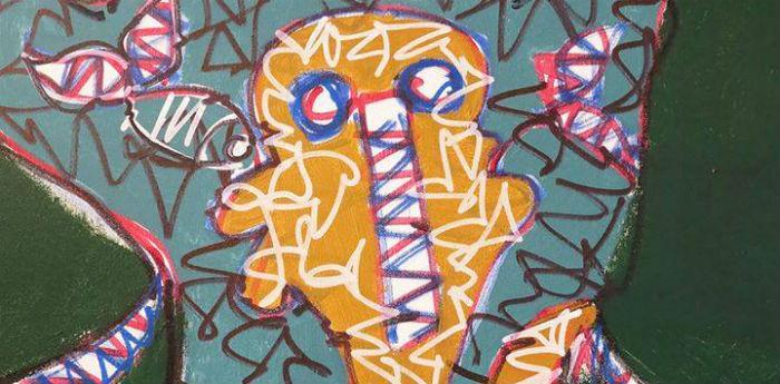 Un'opera dell'artista napoletano Lu Astell nella mostra Sotto Sopra a Castel dell'Ovo