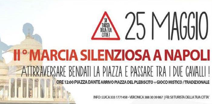 Locandina della Marcia Silenziosa organizzata da Sii turista della tua città
