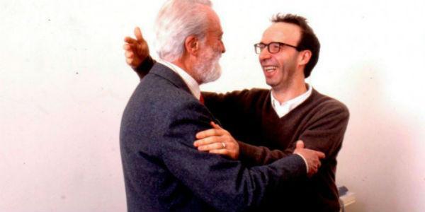 Roberto Benigni ed Eugenio Scalfari per il festival La Repubblica delle Idee a Napoli