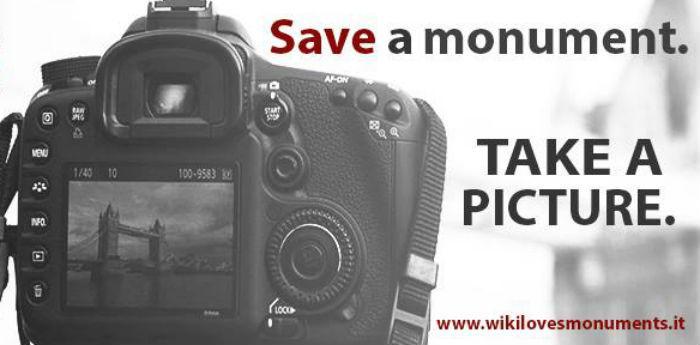 Locandina ufficiale del contest fotografico Wiki Loves Monuments Italia 2014