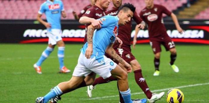 Un'azione della partita Napoli-Torino