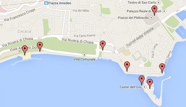 Mappa del Lungomare di Napoli per Capodanno 2015