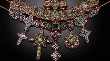Jewel with precious stones from the Museum of the Treasure of San Gennaro in Naples
