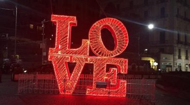 Lights of Valentine's Day in Chiaia in Naples