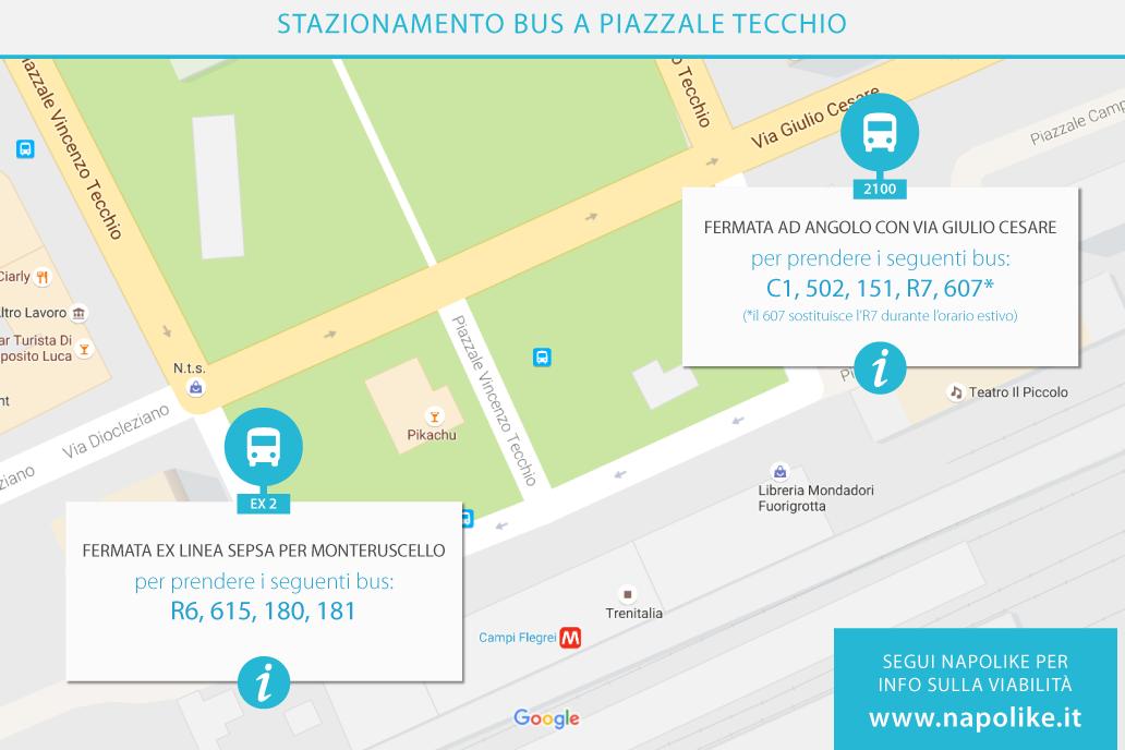 Stazionamento dei bus a Piazzale Tecchio a Napoli