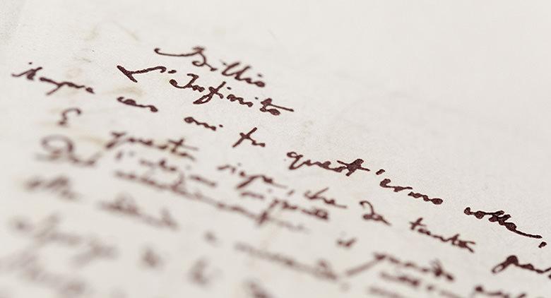 Manoscritto di Giacomo Leopardi alla Biblioteca Nazionale di Napoli