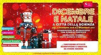 Banner attività di Natale di Città della Scienza