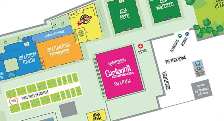 La piantina del Comicon 2017 alla Mostra d'Oltremare di Napoli