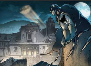 Batman sulla Certosa di San Martino, disegno intero
