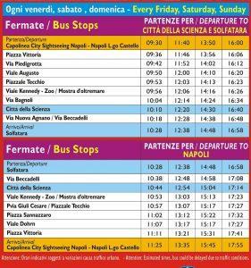 La tabella di orari del bus City Sightseeing Discover Capi Flegrei