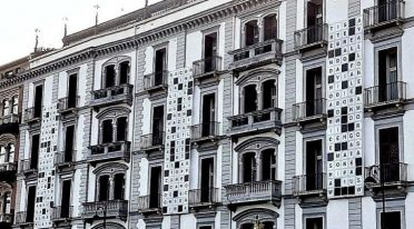 Exterior of the Parker's hotel in Naples with a giant crossword puzzle