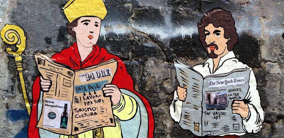 Murales di San Gennaro e Caravaggio a Napoli