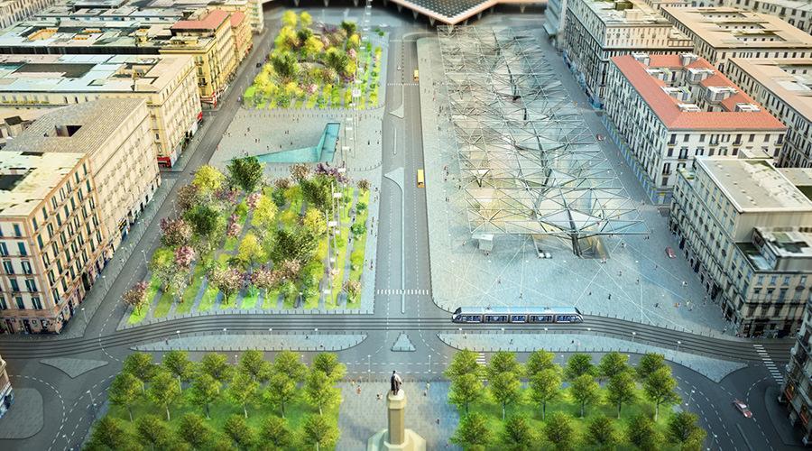 Rendering Piazza Garibaldi a Napoli