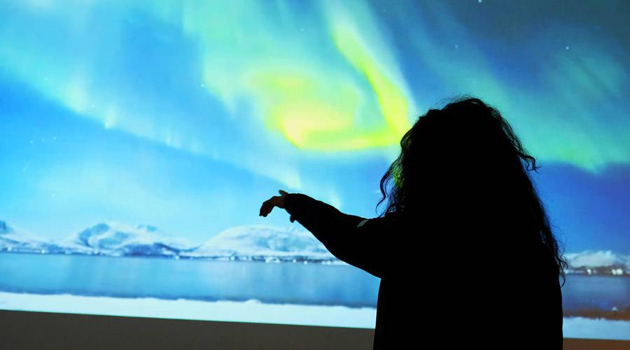Mostra interattiva Polo Nord a Città della Scienza, sala aurora boreale