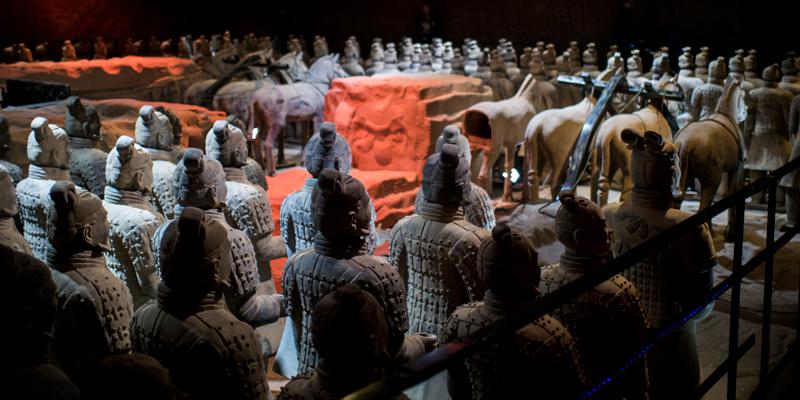 Die Terrakotta-Armee auf dem Display in Neapel