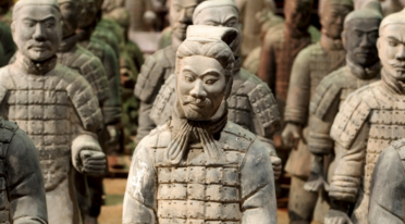 The terracotta army on display in Naples in the Basilica of the Holy Spirit