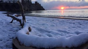 Snow at sea in the province of Naples