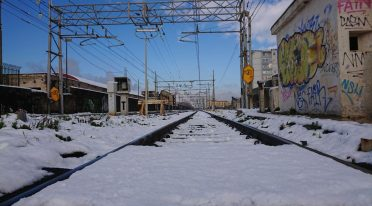 snow on the subway tracks two of Naples