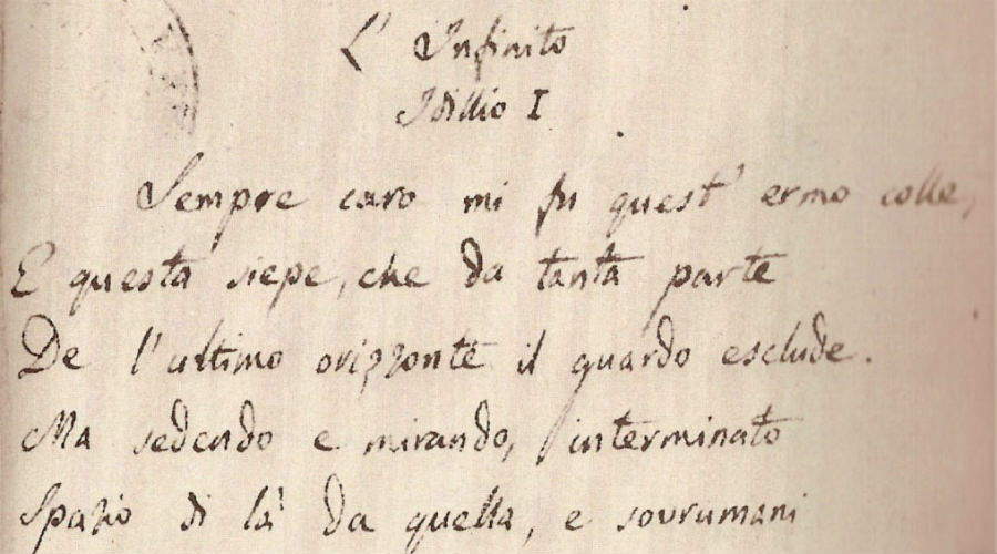 """Manoscritto """"L'Infinito"""" di Giacomo Leopardi"""