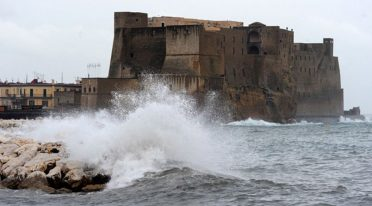 Rough sea on the Castel dell'Ovo in Naples